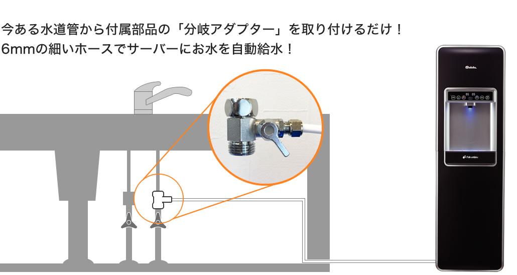 今ある水道管から付属部品の「分岐アダプター」を取り付けるだけ!6mmの細いホースでサーバーにお水を自動給水!