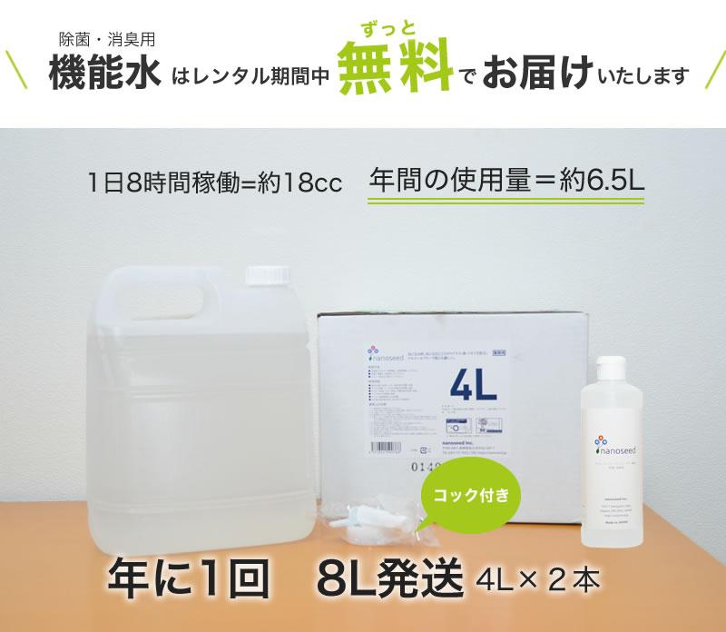 機能水はレンタル期間中ずっと無料でお届けいたします。