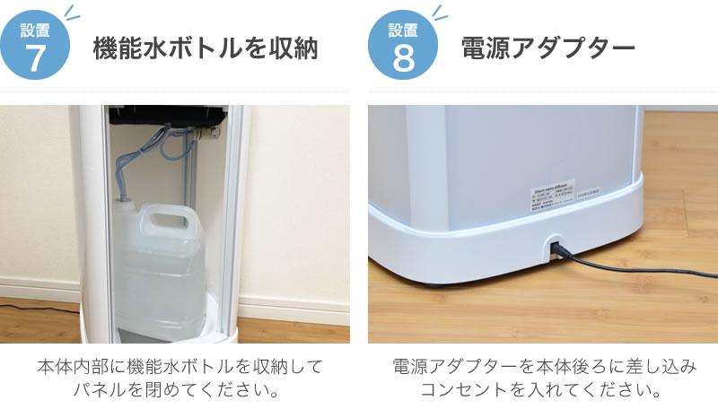 ⑦機能水ボトルを収納 ⑧電源アダプター