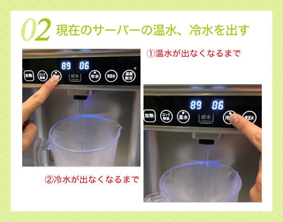現在のサーバーの温水、冷水を出す